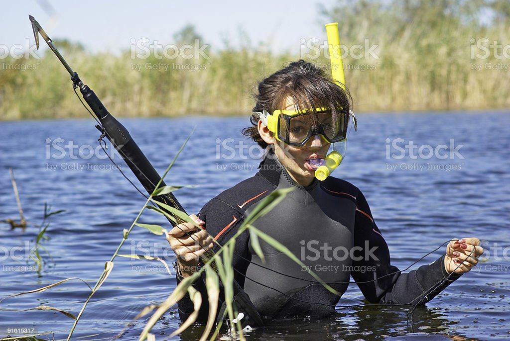 Underwater fisherman woman in lake stock photo
