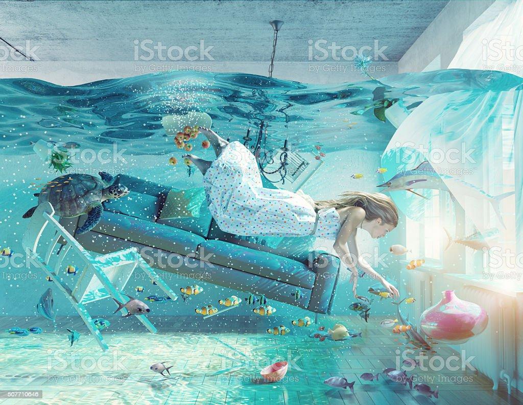 underwater  flooding interior stock photo