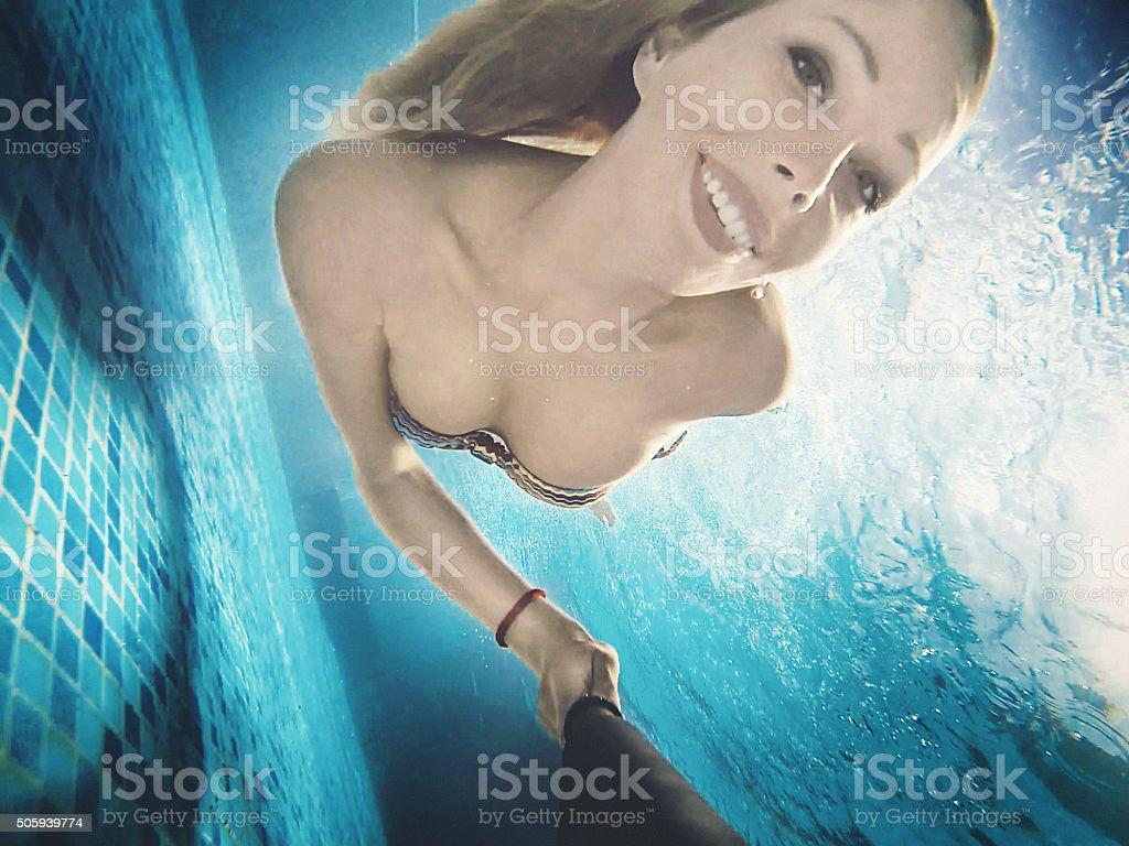 Underwater fun. stock photo