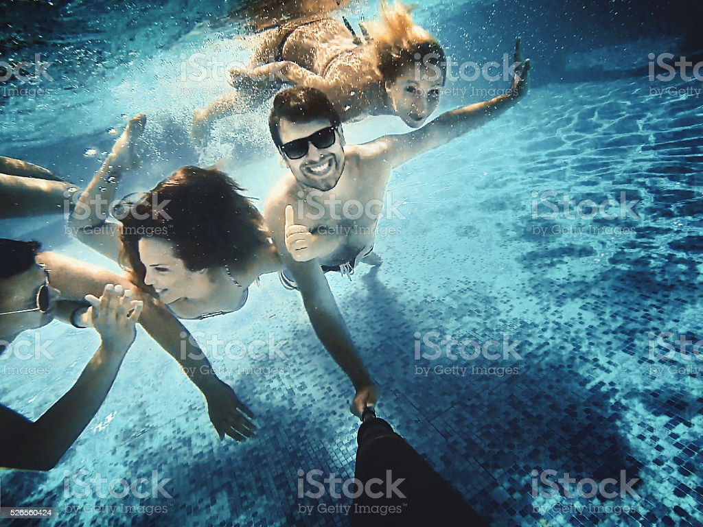 Underwater fun. stock photo