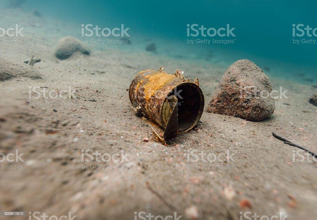 Underwater garbage stock photo