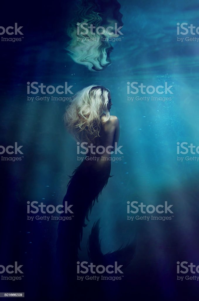 Underwater goddess vector art illustration