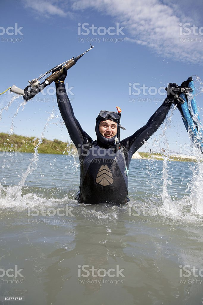 underwater hunter. stock photo