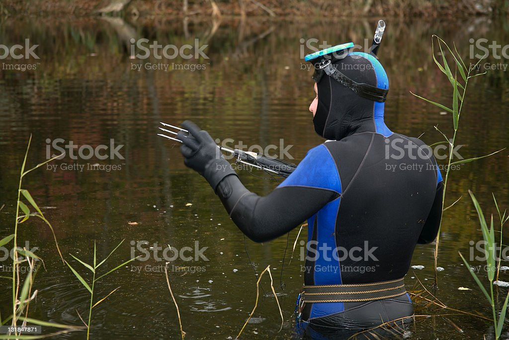 Underwater hunter stock photo