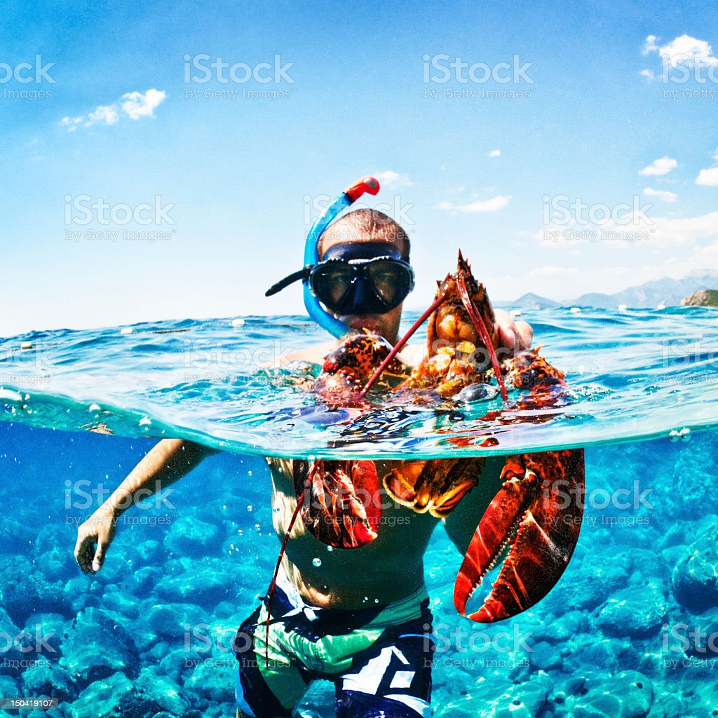Underwater hunter royalty-free stock photo