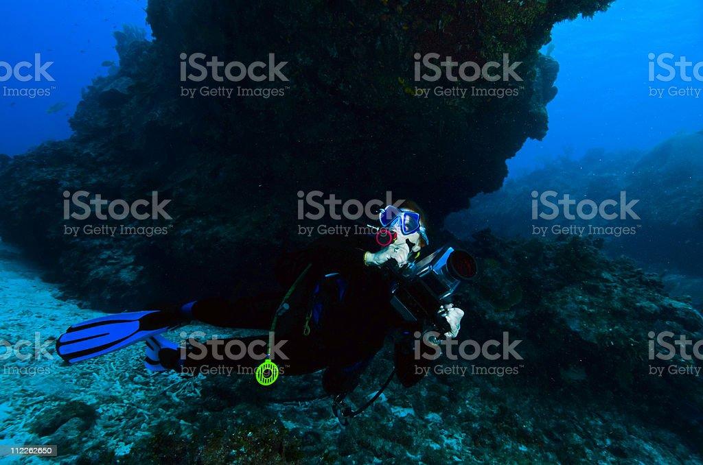 Underwater image of a scuba diver stock photo