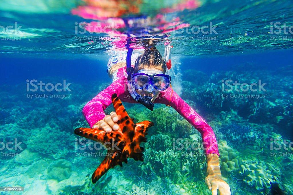 Underwater photo of girl with a starfish stock photo