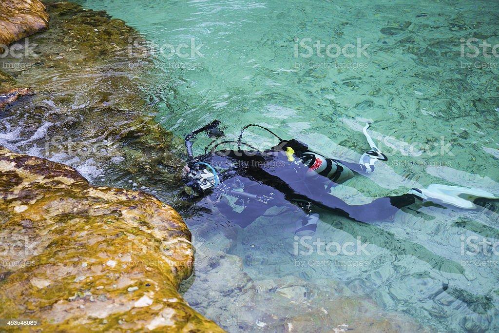 Underwater photographer stock photo