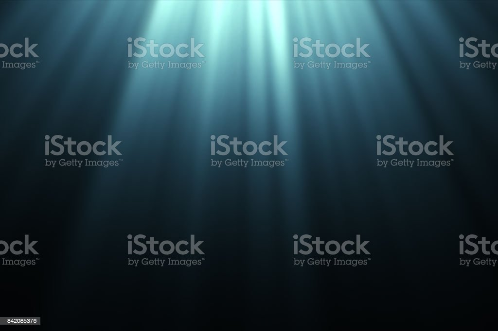 Underwater scene with sun rays and pop-bubbles 3d illustration stock photo