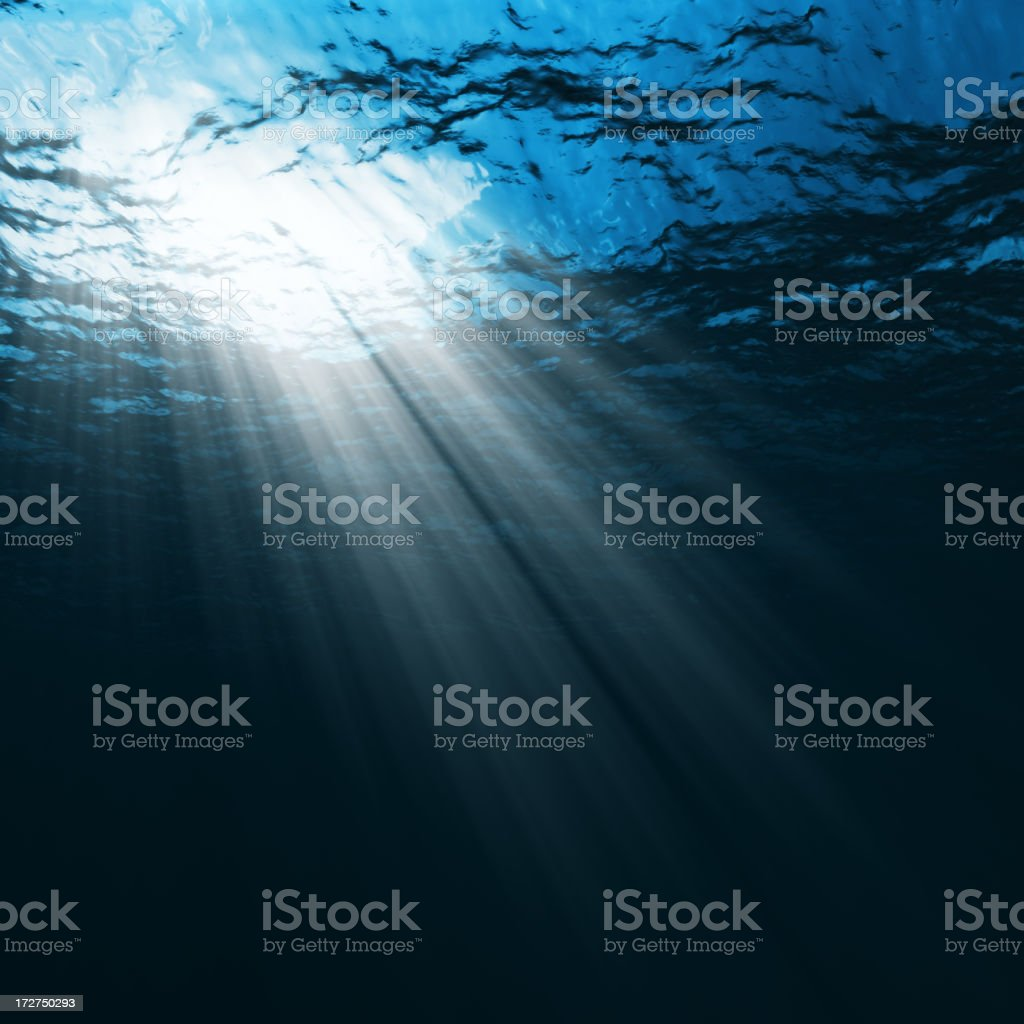 Underwater Scene with sun rays royalty-free stock photo
