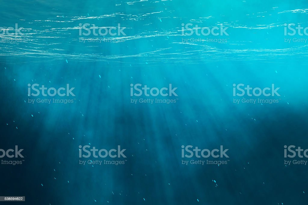 Underwater sea, ocean with light rays. 3d illustration stock photo