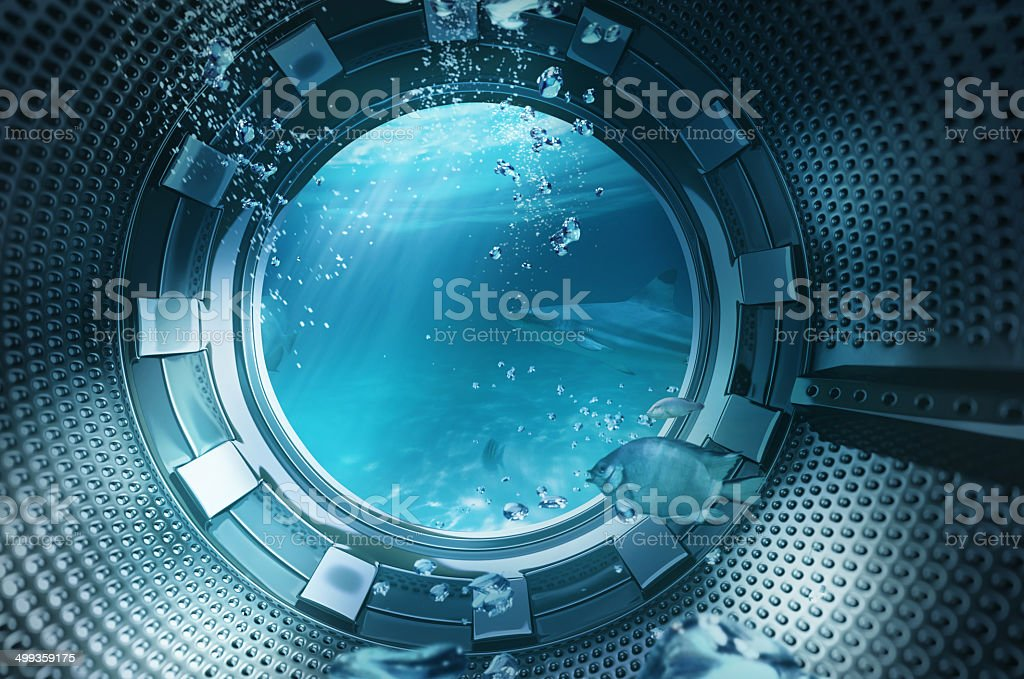 Underwater sea view from the window stock photo