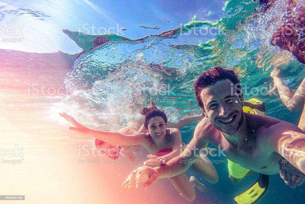 Underwater selfie stock photo