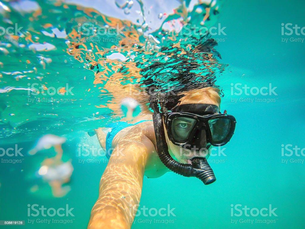 Underwater selfie shot. stock photo