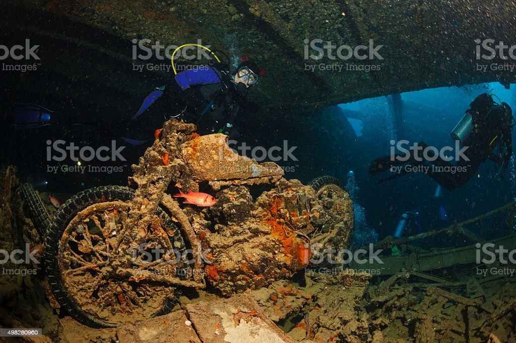 Underwater Ship Wreck Diving  SS Thistlegorm    BSA M20 motorcycle stock photo