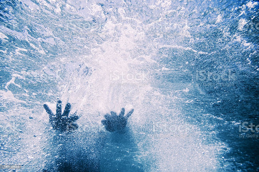 Underwater shot of a woman in the sea stock photo