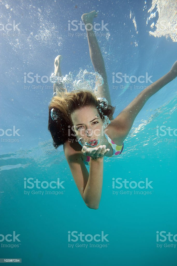 Underwater shot of girl stock photo