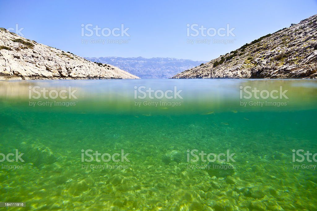 Underwater, surface shot of deserted beach. stock photo