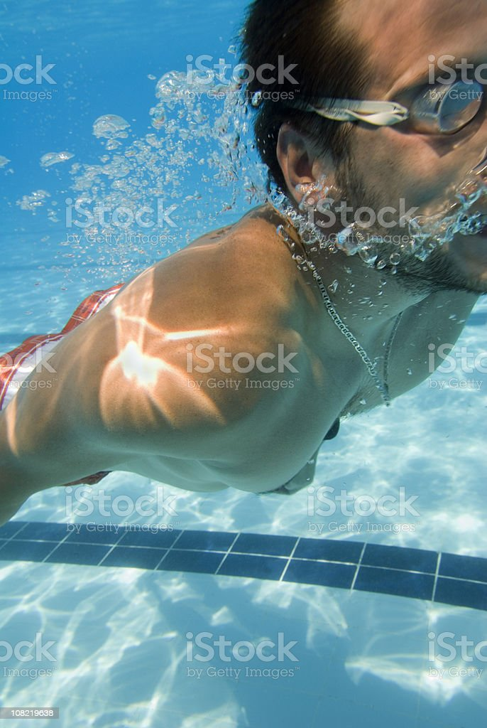 Underwater swimmer close-up royalty-free stock photo