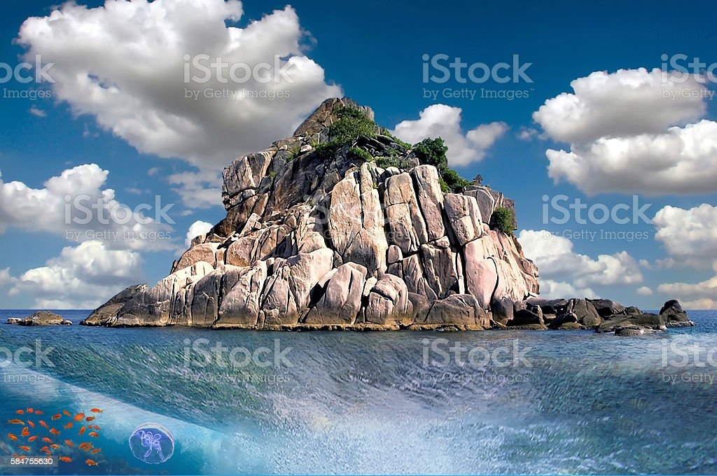 Underwater tropical sea view stock photo