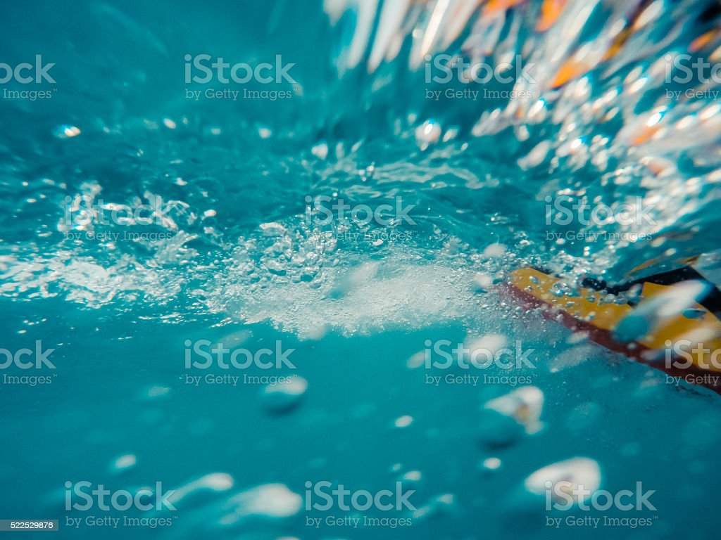 Underwater view of a moving inflatable ring stock photo