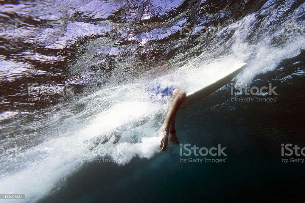 Underwater view of a surfer waiting for a wave in the ocean. royalty-free stock photo