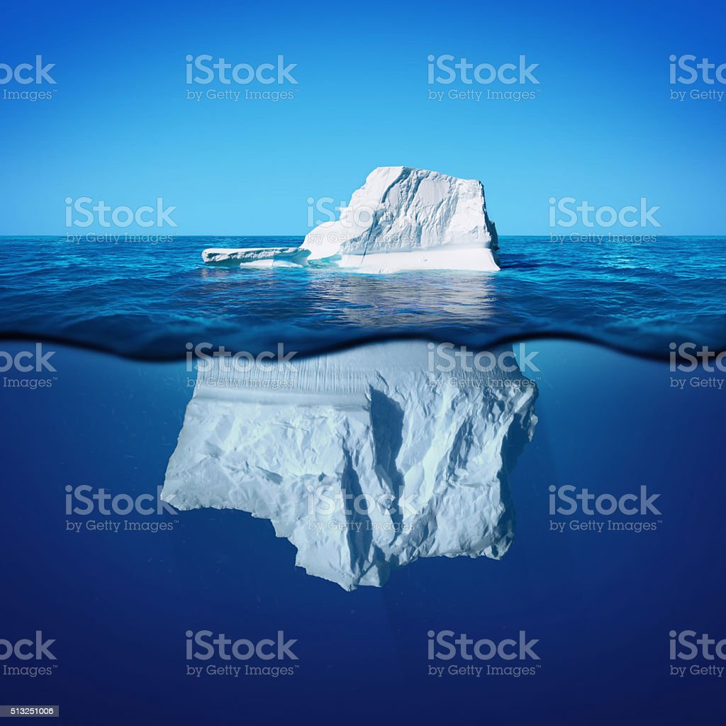 Underwater view of iceberg with beautiful transparent sea stock photo