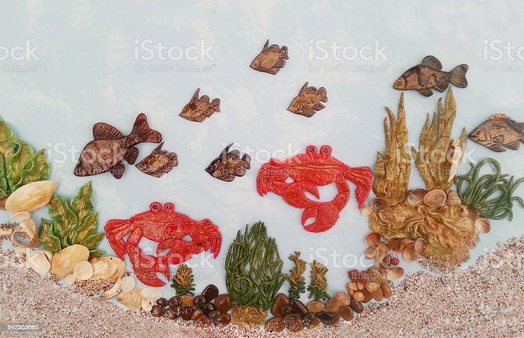 Underwater world of fish, crabs, shells foto stock royalty-free