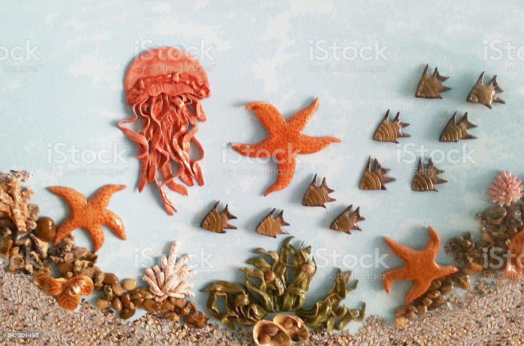 Underwater world of fish, starfish, shells foto stock royalty-free