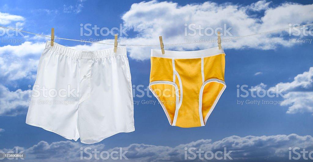 underwear drying stock photo