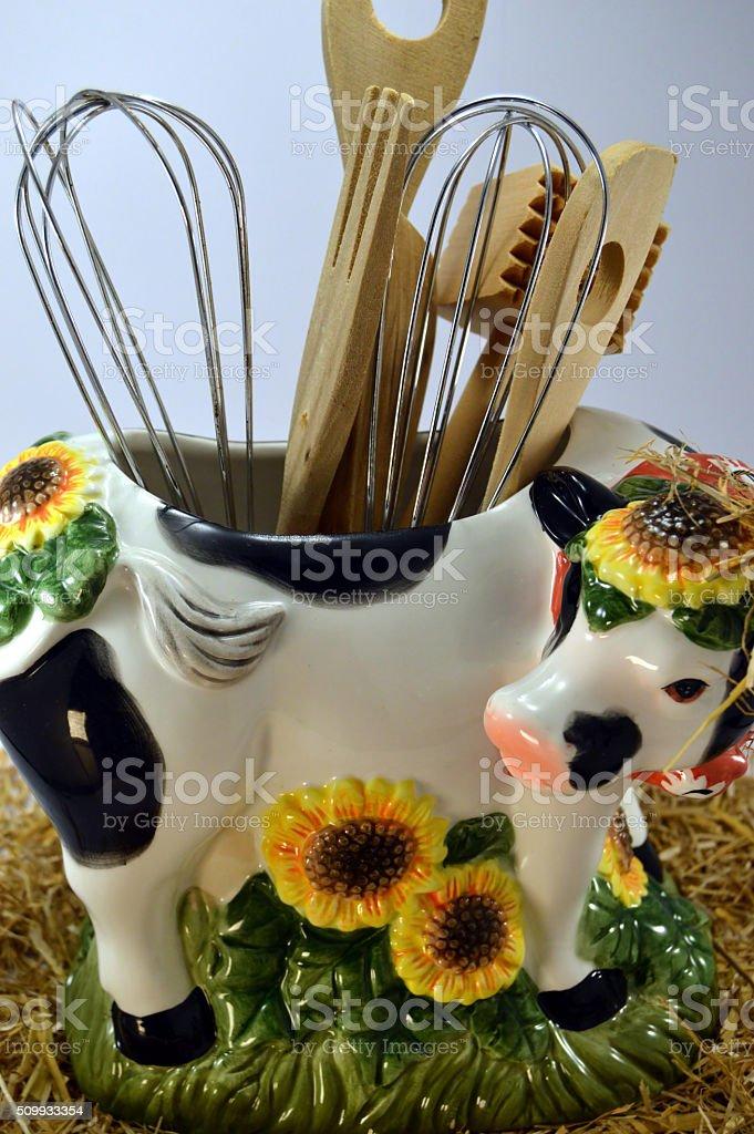 Une vache en porte ustensiles. stock photo