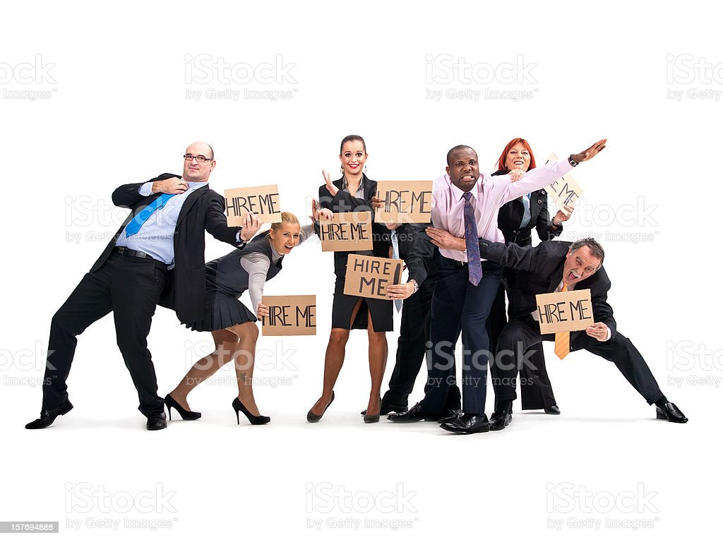 Unemployed Business People Fighting for Job stock photo