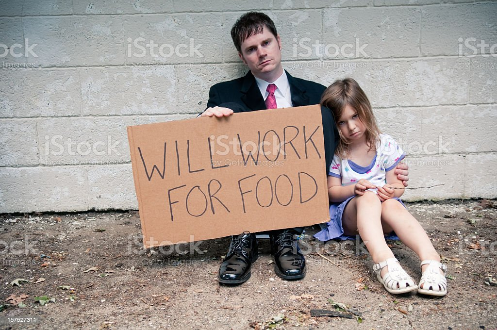 Unemployed Businessman and Daughter Holding Will Work For Food Sign stock photo