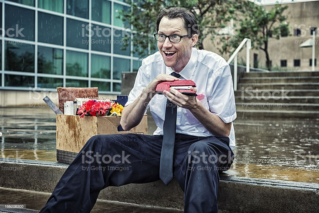 Unemployed Businessman Plots Revenge stock photo