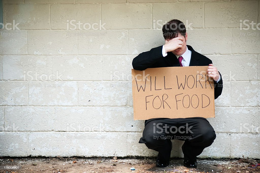 Unemployed Businessman Will Work For Food royalty-free stock photo