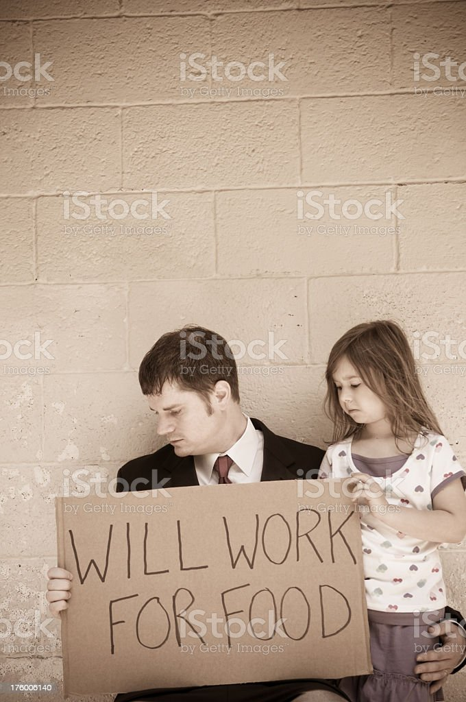 Unemployed Businessman with His Daughter royalty-free stock photo