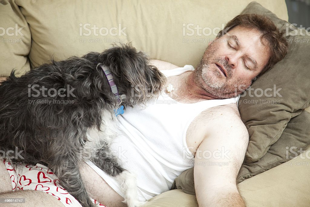 Unemployed Man Passed Out stock photo