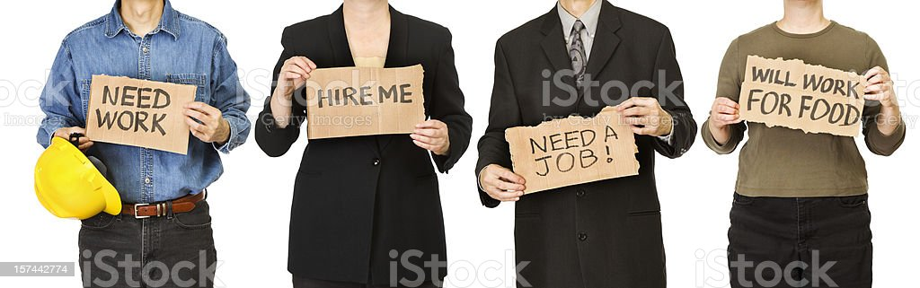 Unemployed Workers People Holding Cardboard Signs Searching for Job Recruitment stock photo