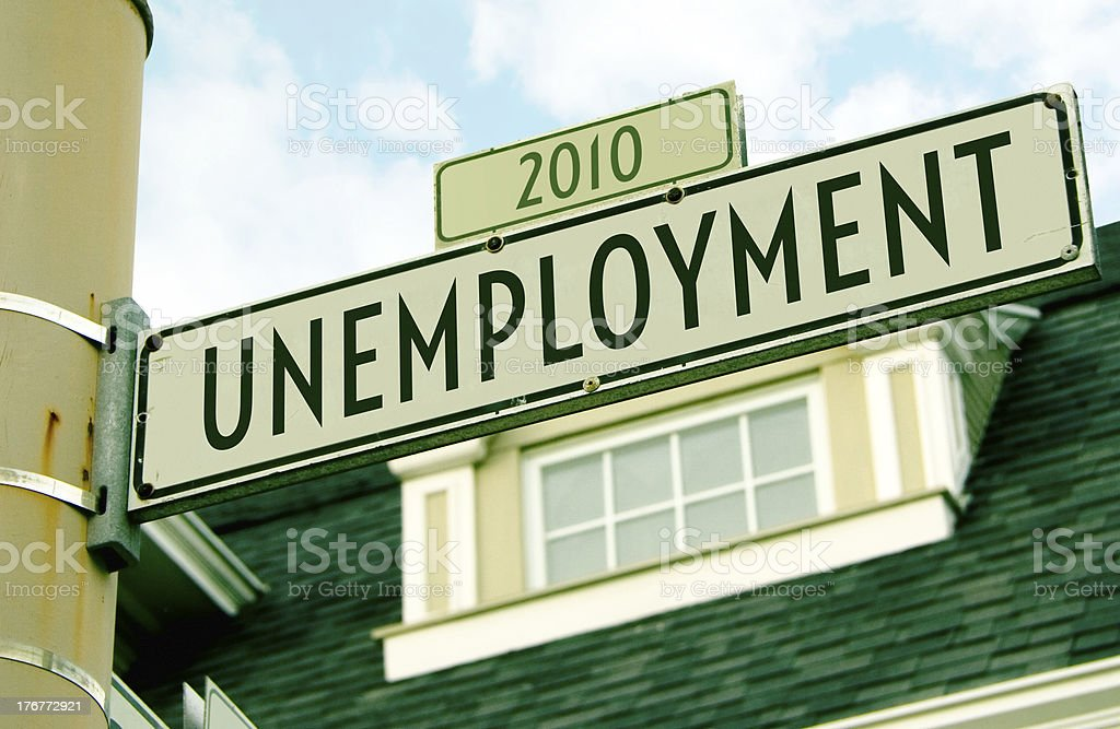 Unemployment 2010 Road Sign royalty-free stock photo