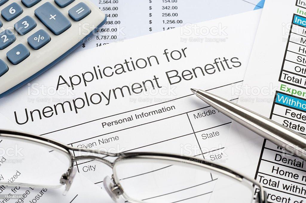 Unemployment application stock photo