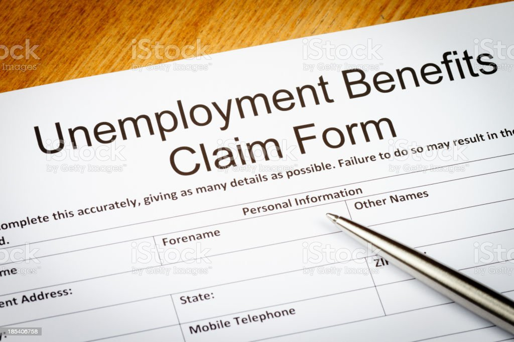 Unemployment Benefits claim form stock photo