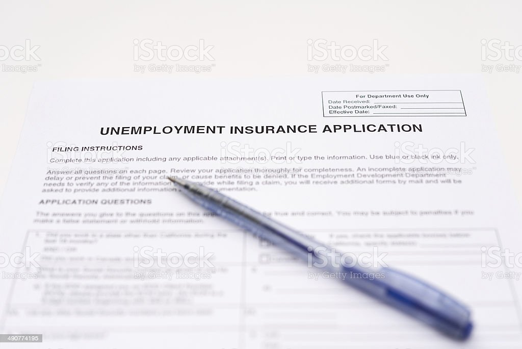 unemployment insurance application stock photo