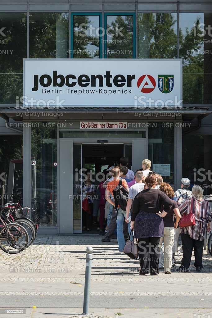 Unemployment Office with lot of unemployed people in Berlin stock photo