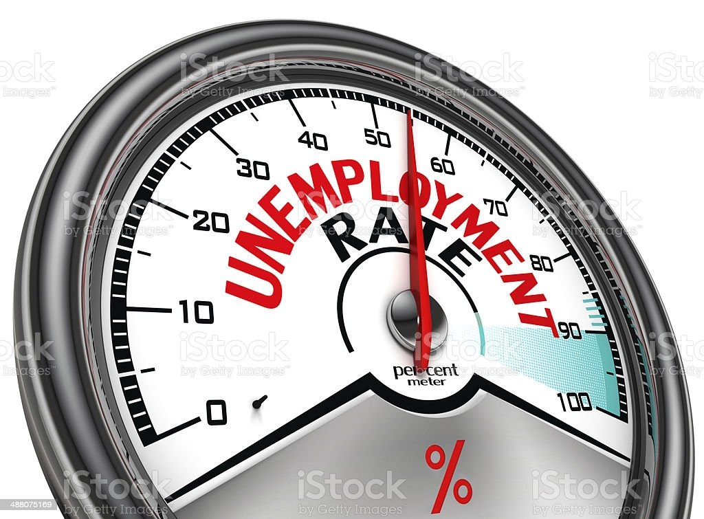 unemployment rate conceptual meter stock photo