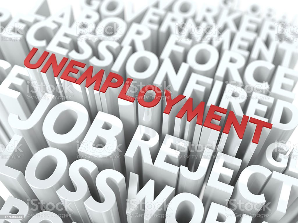 Unemployment. The Wordcloud Concept. royalty-free stock photo