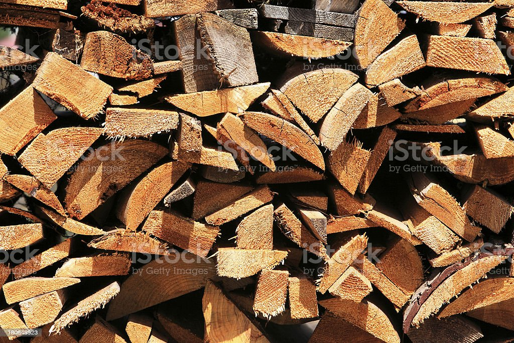 Uneven pile of rough-cut wood royalty-free stock photo