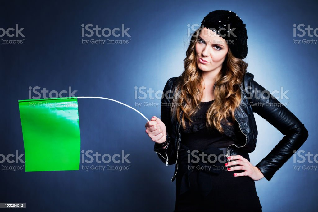 Unexcited Woman with Flag stock photo