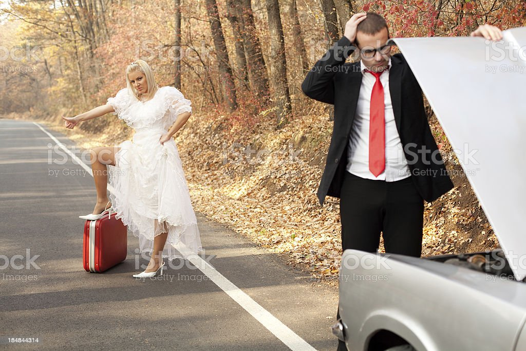 Unexpected problems on the honeymoon. Just married series stock photo