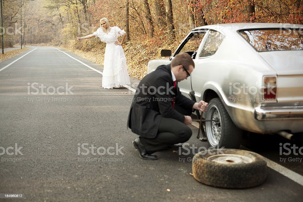Unexpected problems on the honeymoon. Just married series royalty-free stock photo