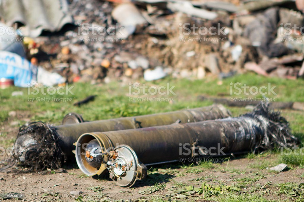 unexploded ordnance from multiple rocket launchers stock photo